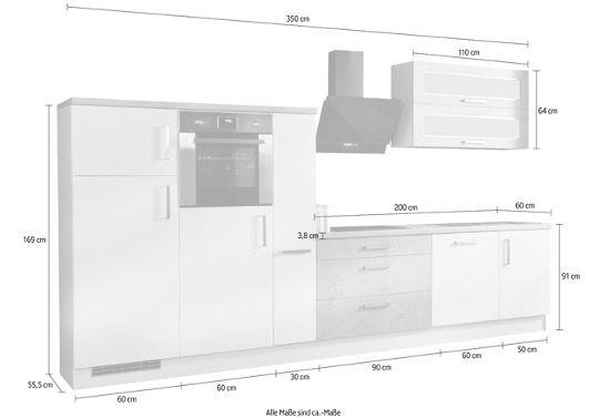 Respekta Premium Küchenzeile MERP350HWB 350cm in Weiß Hochglanz inkl. aller Elektrogeräte für 1.889,99€ (statt 2.199€)