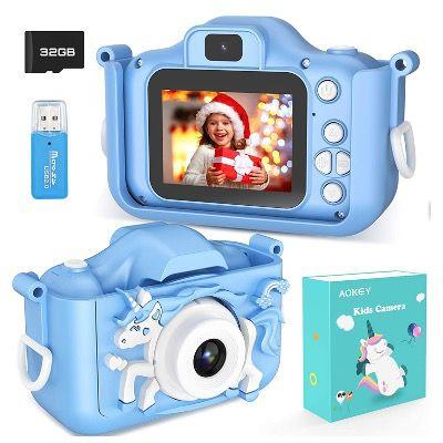 AOKEY Digital Foto Kamera mit Dual Lens und Display mit 32GB Karte in Blau für 21,99€ (statt 40€)