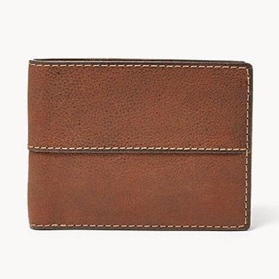 FOSSIL Herren Geldbörse Ethan International Traveler aus braunem Leder für 17,70€ (statt 59€)