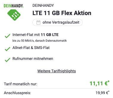 SimOnly O2 Allnet  und SMS Flatrate mit 11GB LTE 50Mbit für 11,11€ mtl.   monatlich kündbar