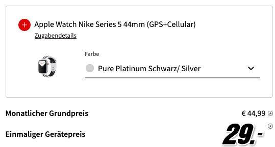 Apple iPhone 11 + Apple Watch 5 Nike 44mm LTE für 29€ + o2 Allnet Flat inkl. 120GB LTE für 44,99€ + 12 Monate Netflix gratis