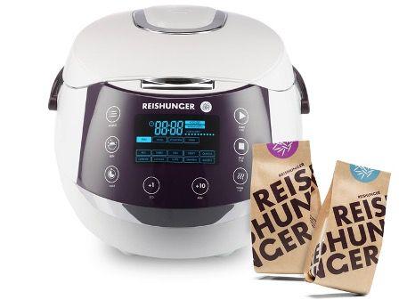 Reishunger Reiskocher (860W, 1,5 Liter) + 2x Bio Reis für 99,99€ (statt 143€)