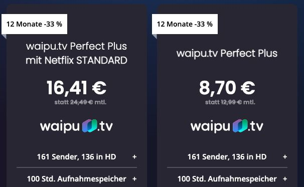 12 Monate waipu TV Perfect Plus für 8,70€ mtl. (statt 13€) oder Perfect Plus inkl. Netflix für 16,41€ mtl. (statt 23€)