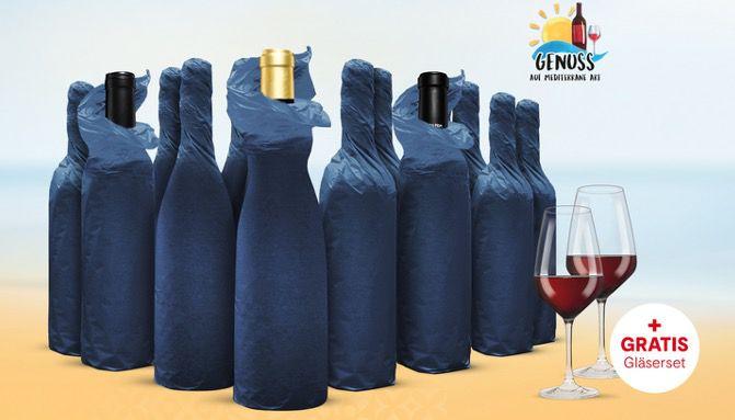 Vinos Weinprobe Paket mit 12 Weinen und 2 Schott Zwiesel Gläsern inkl. Online Weinverkostung für 75,99€