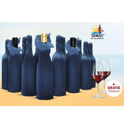 Vinos Weinprobe-Paket mit 12 Weinen und 2 Schott Zwiesel Gläsern inkl. Online-Weinverkostung für 75,99€