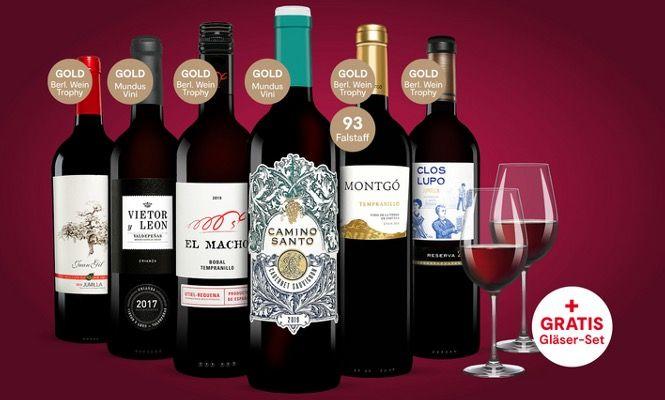 6 Flaschen Rotwein inkl. 2x Schott Zwiesel Weingläser ab 24,99€ (statt 60€)   oder 2 Pakete für 48,99€