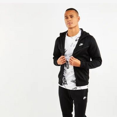Nike Herren Hoodie Repeat Poly Full Zip in Schwarz für 29,99€ (statt 48€)