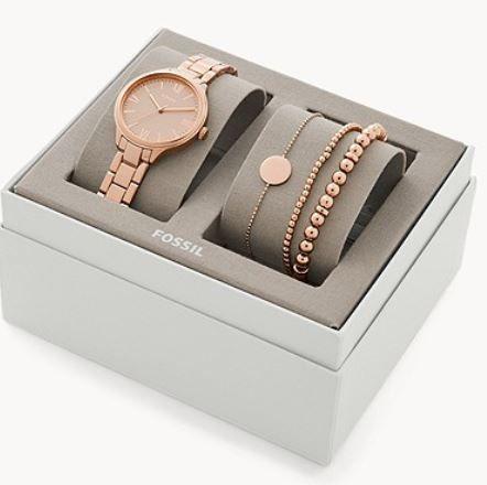 Fossil Damenuhr Suitor aus Metalllegierung + Armbänder für 48,30€ (statt 139€?)