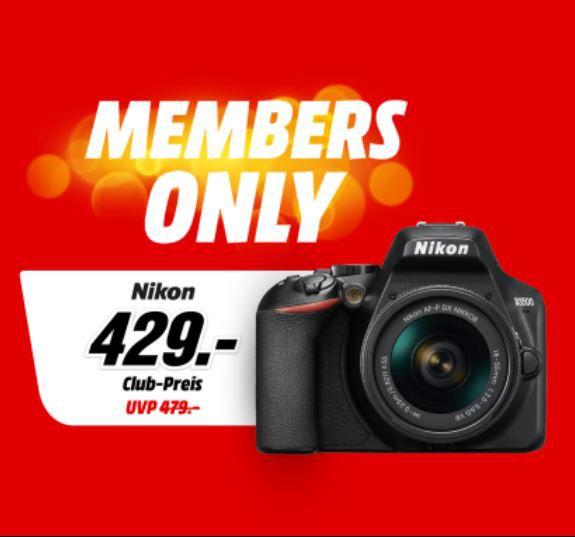MediaMarkt Members Only Aktion – z.B. NIKON D3500 DLSR + 18-55 mm Objektiv + Tasche + 16GB Speicherkarte für 419€ (statt 489€)