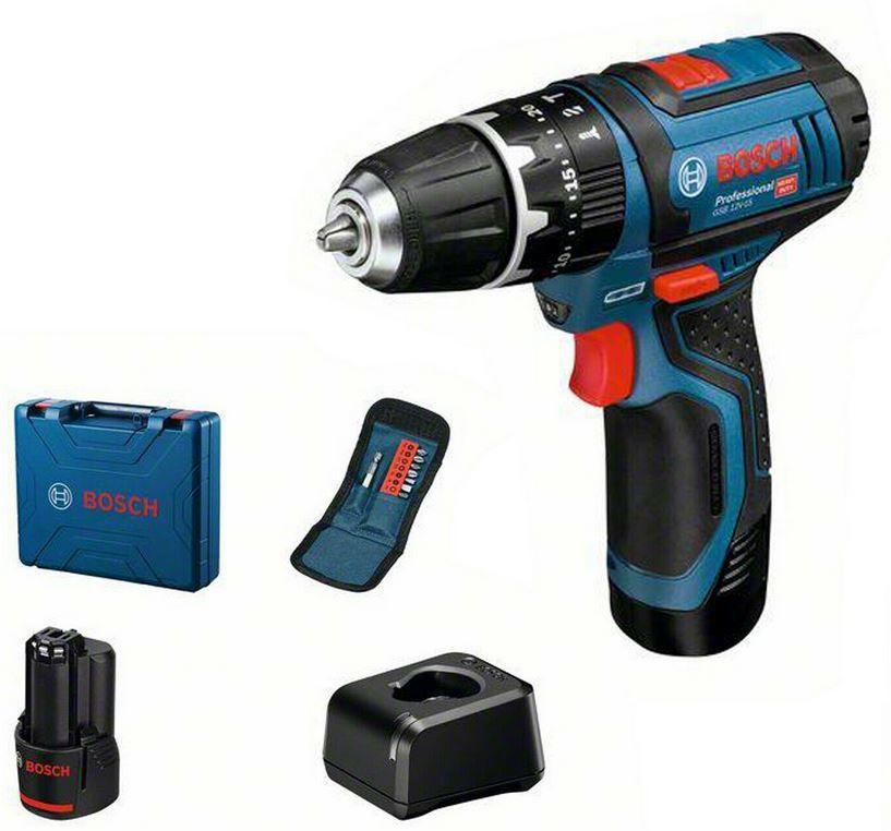 Bosch GSB 12V 15 Professional Akkuschlagschrauber + 2 x 2.0 Ah Akku + Ladegerät + Zubehör für 98,91€ (statt 110€)