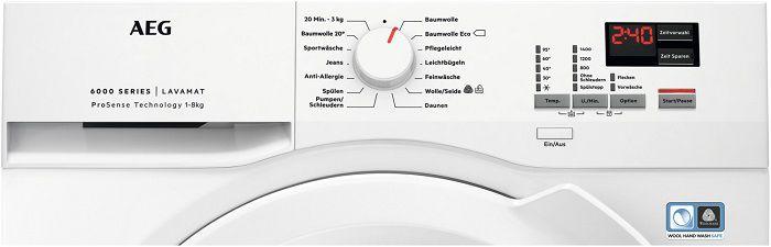 AEG L6FBA484 Waschmaschine (8.0 kg, 1400 U/Min., A+++) ab 389€ (statt 449€)