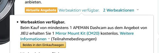 APEMAN C420D   1080p Dashcam & Rückkamera + Halterung für 33,99€ (statt 70€)