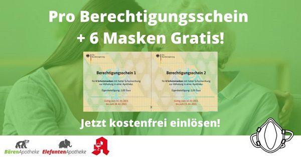 Pro Berechtigtigungsschein 12 FFP2 Masken   ohne Zuzahlung   VSK frei