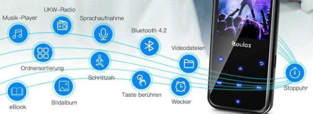 Coulax MP3 Player mit Radiofunktion, 16GB & 2.4 Zoll Display für 9,45€ (statt 27€)   Prime