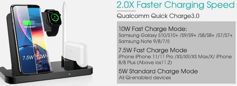 LECHLY 4in1 Qi Ladestation mit 10W inkl. QC 3.0 Adapter für 19,99€ (statt 40€)