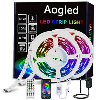 10m Aogled LED Streifen mit Netzteil, Fernbedienung & App Steuerung für 20,39€ (statt 30€)