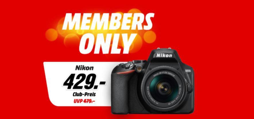 MediaMarkt Members Only Aktion   z.B. NIKON D3500 DLSR + 18 55 mm Objektiv + Tasche + 16GB Speicherkarte für 419€ (statt 489€)