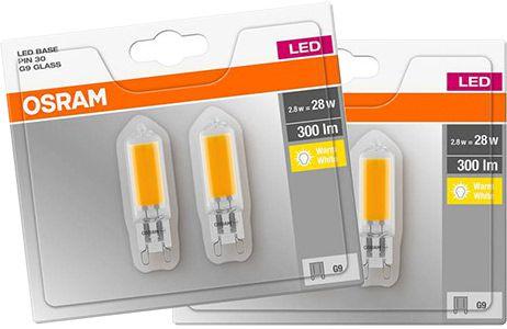 4er Pack: OSRAM BASE LED G9 Lampe mit 2,8W für 14,99€ (statt 26€)