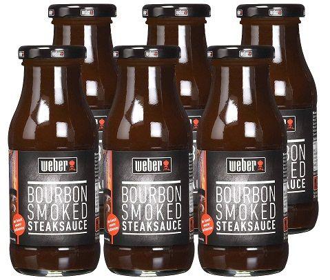 6 x Weber Bourbon Smoked Steaksauce + Servierbrett für 17,77€ (statt ~ 21€)