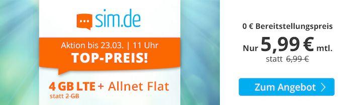 Sim.de o2 Allnet Flat mit 4GB LTE für 5,99€ mtl. – oder 9GB für 8,99€ oder 20GB für 17,99€