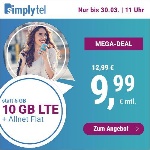 o2 Allnet Flat mit 10GB LTE für nur 9,99€mtl. + keine Laufzeit