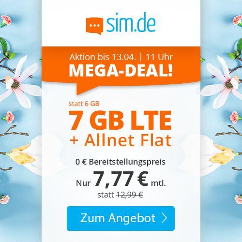 Sim.de o2 Allnet Flat mit 7GB LTE für 7,77€ mtl. – nur 3 Monate Laufzeit