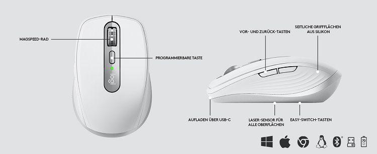 Logitech MX Anywhere 3   kabellose Bluetooth Maus für 54,90€ (statt 67€)
