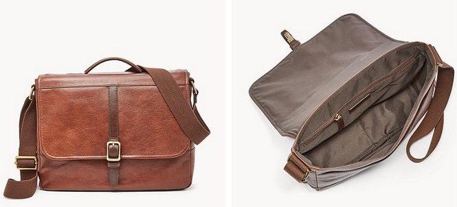 FOSSIL Herren Tasche Evan Commuter aus braunem Leder mit Notebook Fach für 65,70€ (statt 158€)