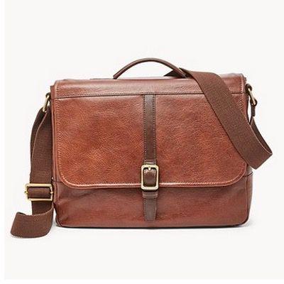 FOSSIL Herren Tasche Evan Commuter aus braunem Leder mit Notebook-Fach für 65,70€ (statt 158€)