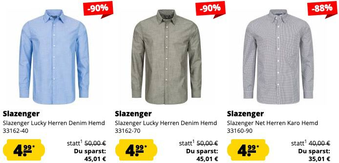 Slazenger Sale bei Sportspar.de   z.B. Herren Denim Hemd in Blau für 8,94€ (statt 17€)