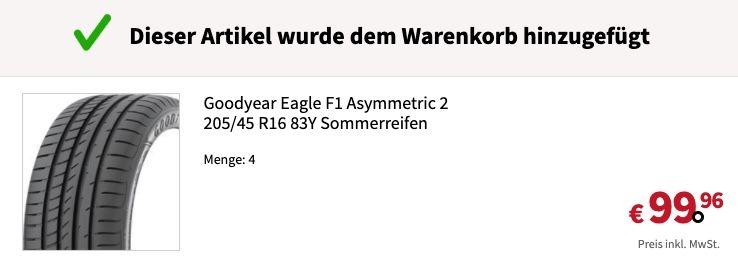 Fehler? Goodyear Eagle F1 Asymmetric 2 205/45 R16 83Y Sommerreifen für 24,99€ (statt 87€)
