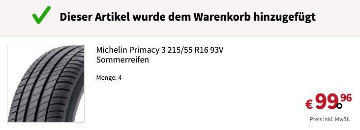 Michelin Primacy 3 215/55 R16 93V Sommerreifen für 24,99€ (statt 98€)