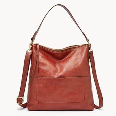 FOSSIL Damen Handtasche Amelia Hobo aus braunem Leder für 68,70€ (statt 164€)