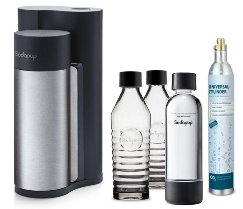 Sodapop Harold inkl. 2 Glaskaraffen + PET Flasche + CO2 Zylinder für 69,99€ (statt 101€)