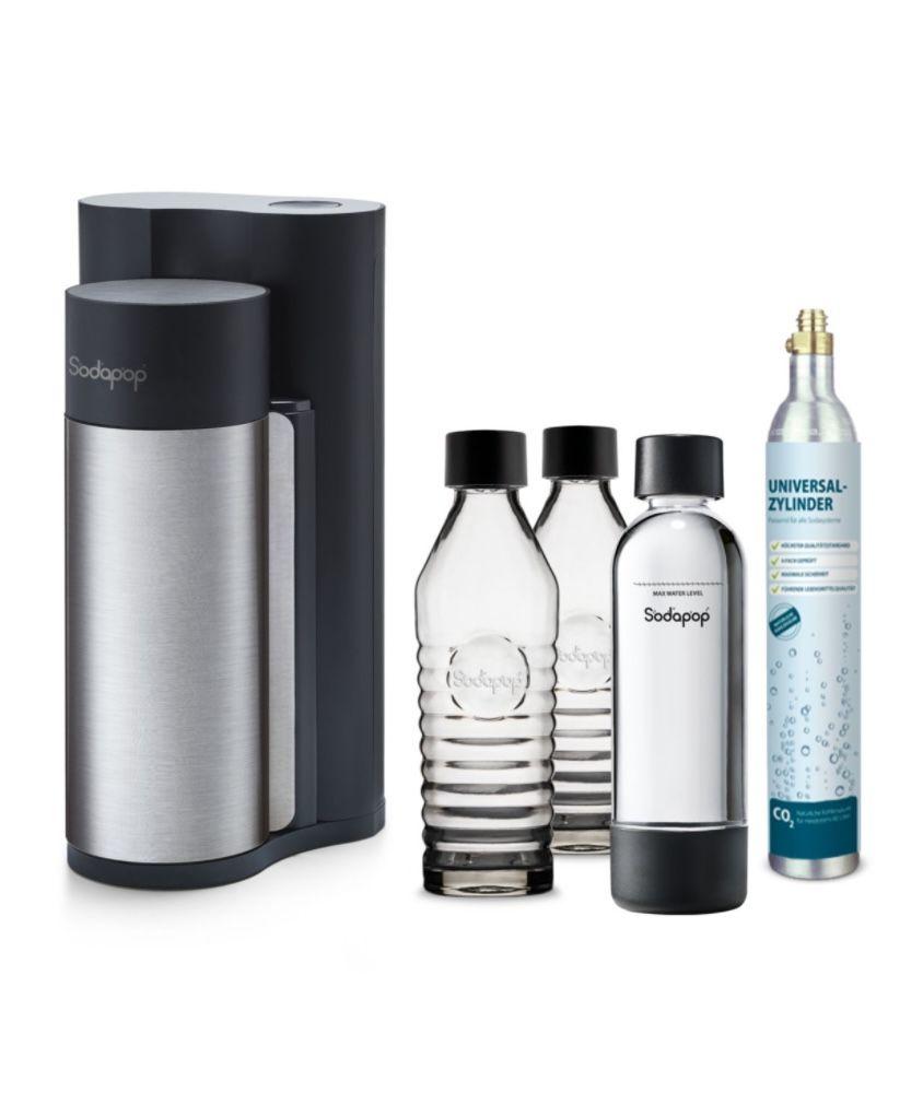 Sodapop Harold inkl. 2 Glaskaraffen + PET Flasche + CO2-Zylinder für 69,99€ (statt 101€)