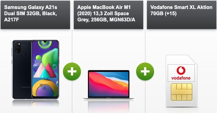 Apple MacBook Air M1 (2020) + Galaxy A21s für 289€ + Vodafone Allnet Flat mit 70GB LTE/5G für 56,99€ mtl.