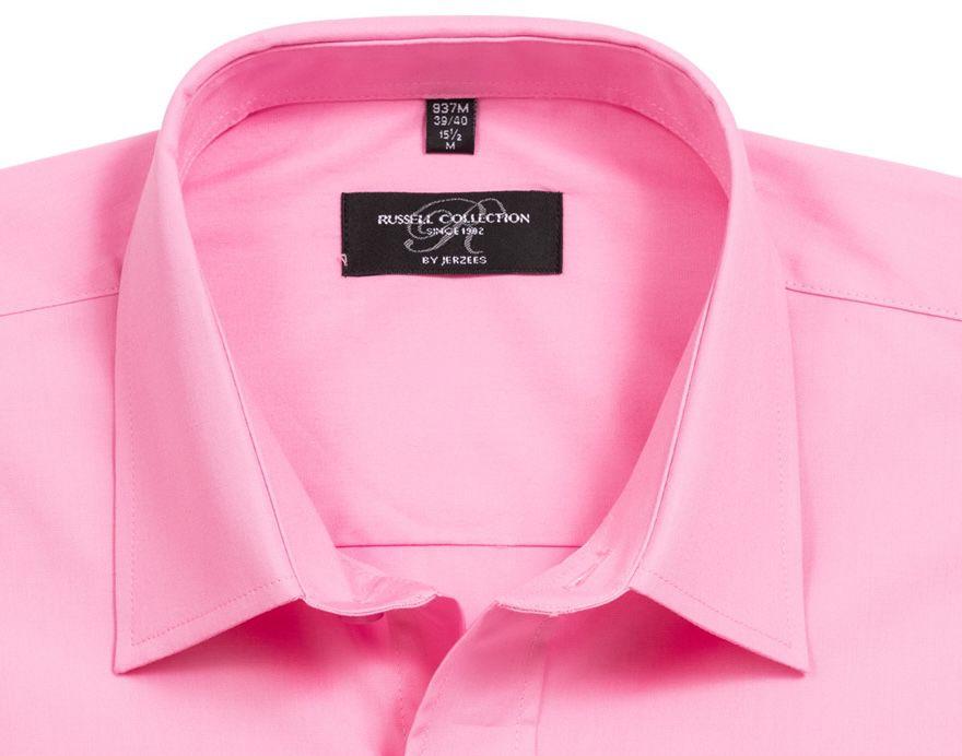 Russell Short Sleeve Pure Cotton Poplin Herren Hemd in Pink für 1,11€+ VSK