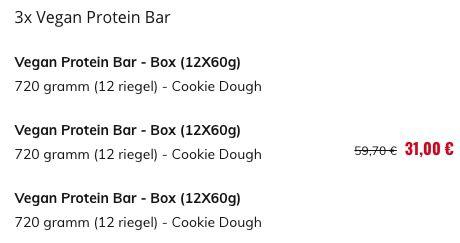 36er Pack Vegan Protein Bar mit Cookie Dough Geschmack für 31€ (statt 60€)