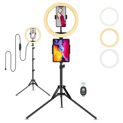 LED Selfie Ringlicht mit Stativ in 10 Zoll und Stativ mit Fernauslöser für 19,79€ (statt 33€)