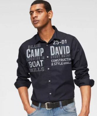 Camp David Langarmhemd mit Applikationen und Prints für 42,91€ (statt 53€)