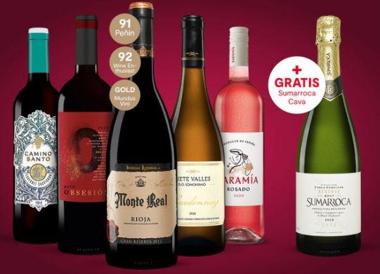 5 Flaschen Vinos Wein Paket inkl. Online Weinprobe für 34,99€ + gratis Flasche Sumarroca Cava