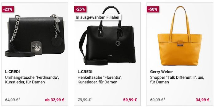 Galeria: 50% Extra Rabatt auf viele bereits stark reduzierte Taschen und Handtaschen