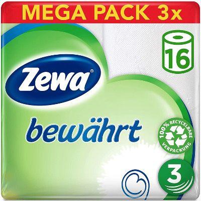 Zewa Toilettenpapier 3 lagig in Weiß im (3x 16 Stück) für 13,36€ (statt 25€)   Prime Sparabo