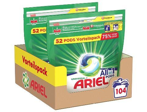 Ariel Vollwaschmittel 3in1 Pods Strahlend Rein 104 Waschladungen für 16,45€ (statt 32€)   Sparabo