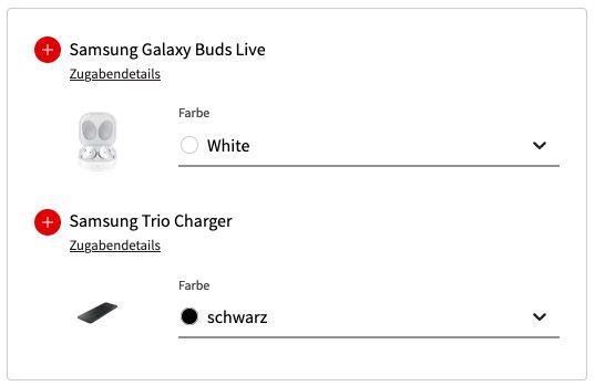 Samsung Galaxy S21 Ultra 5G + Trio Charger + Buds Live für 99€ + Vodafone Allnet Flat mit 40GB LTE für 44,99€mtl.