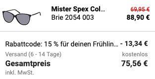 Mister Spex Sonnebrillen Sale mit 15% Extra Rabatt Gutschein   mit und ohne Sehstärke