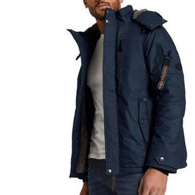 Tom Tailor Winterjacke mit abnehmbarer Kapuze in Blau für 71,99€ (statt 110€)