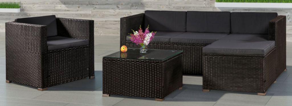 ArtLife Polyrattan Lounge Sitzgarnitur mit Bezügen in Dunkelgrau für 254,95€ (statt 390€)