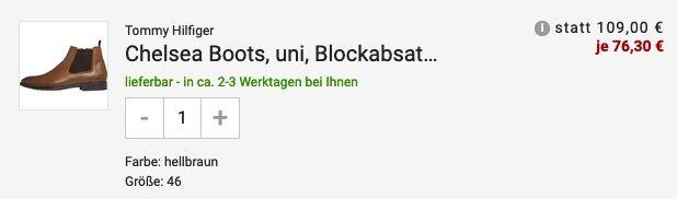 Tommy Hilfiger Chelsea Herren Boots mit Blockabsatz in Braun für 76,30€ (statt 106€)