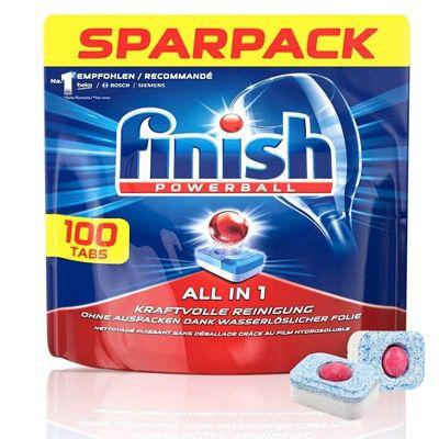Finish All in 1 Spülmaschinentabs mit Powerball im Sparpack mit 100 Tabs für 10,39€ (statt 19€) – Prime Sparabo